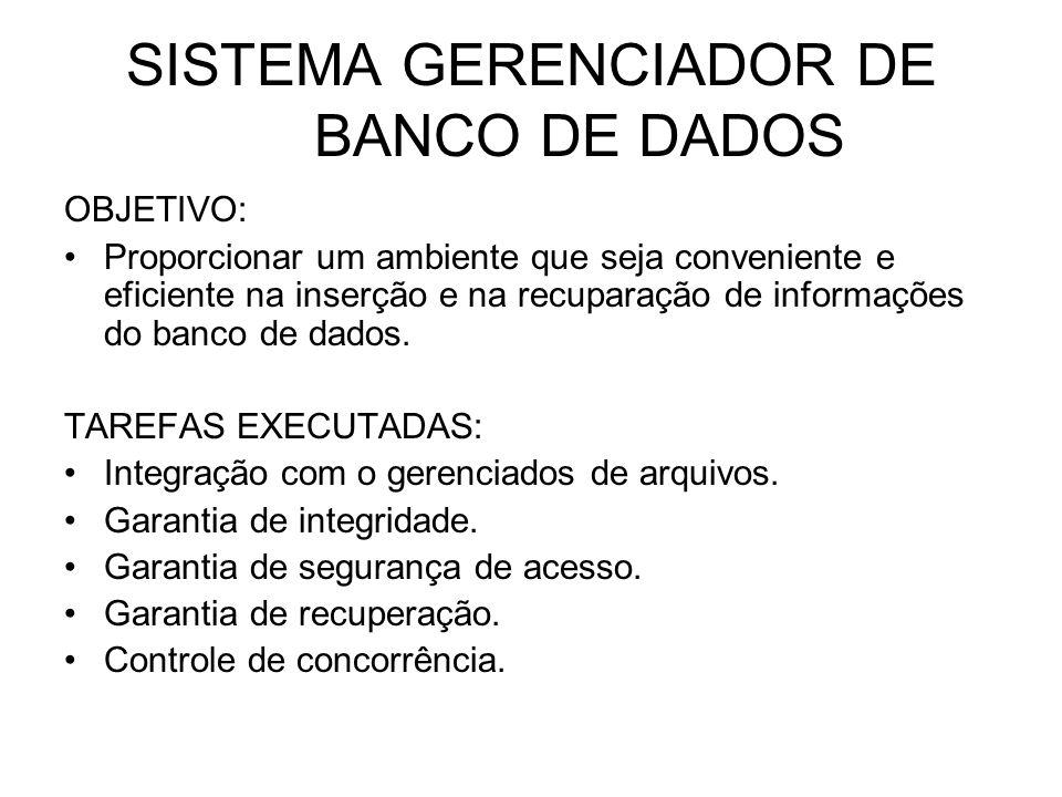 SISTEMA GERENCIADOR DE BANCO DE DADOS OBJETIVO: Proporcionar um ambiente que seja conveniente e eficiente na inserção e na recuparação de informações