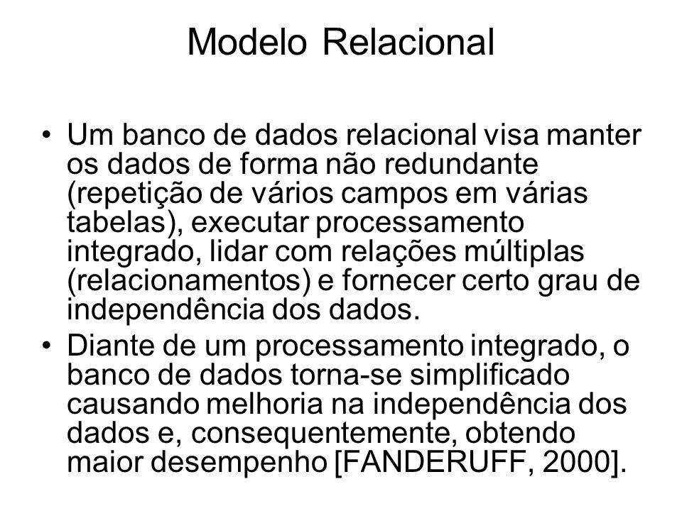 Modelo Relacional Um banco de dados relacional visa manter os dados de forma não redundante (repetição de vários campos em várias tabelas), executar p