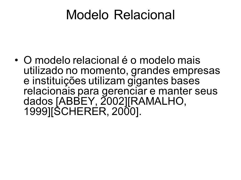 Modelo Relacional O modelo relacional é o modelo mais utilizado no momento, grandes empresas e instituições utilizam gigantes bases relacionais para g