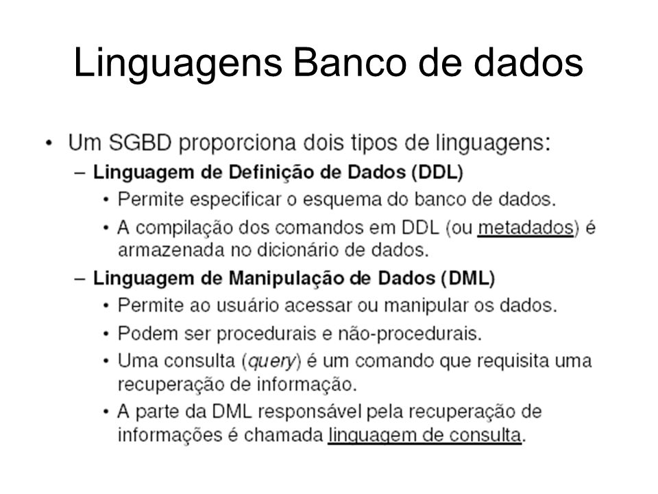 Linguagens Banco de dados