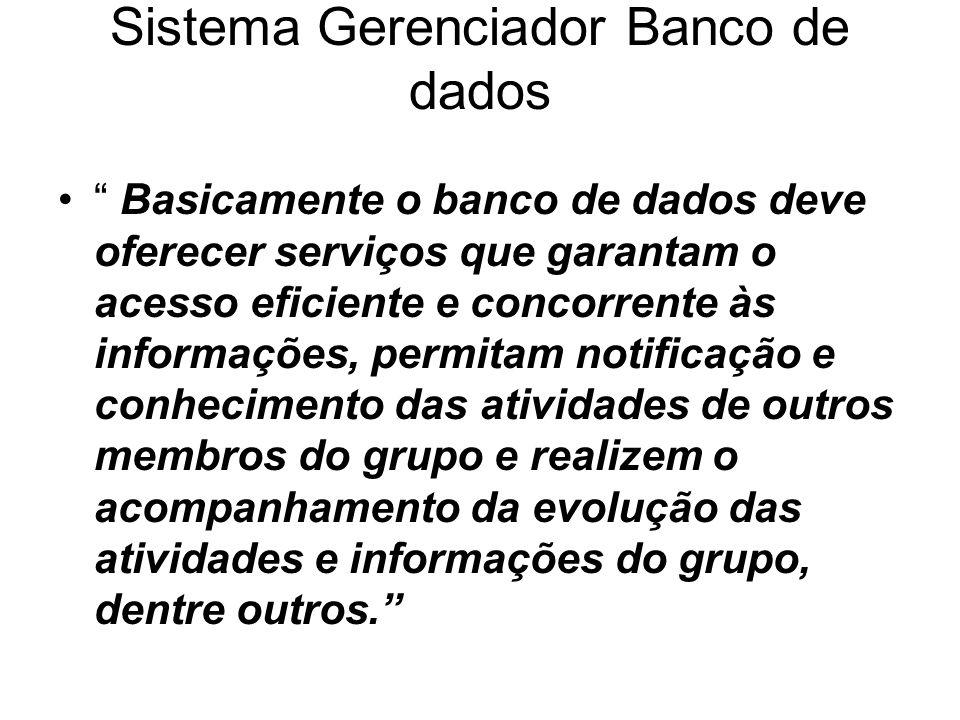 Sistema Gerenciador Banco de dados Basicamente o banco de dados deve oferecer serviços que garantam o acesso eficiente e concorrente às informações, p