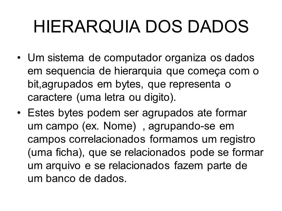 HIERARQUIA DOS DADOS Um sistema de computador organiza os dados em sequencia de hierarquia que começa com o bit,agrupados em bytes, que representa o c
