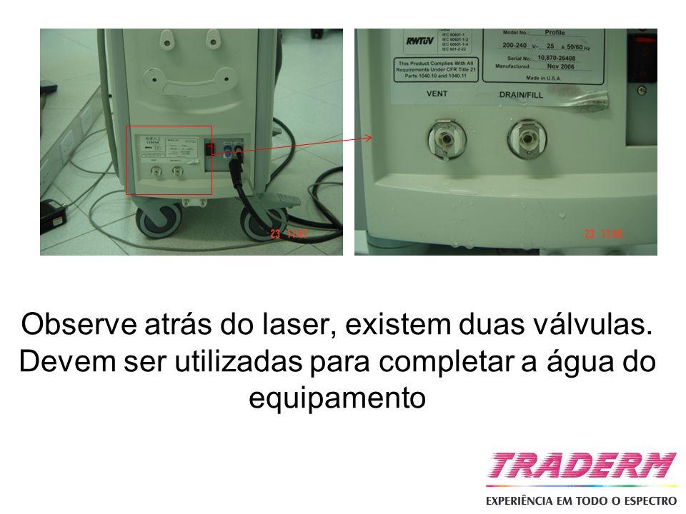 Observe atrás do laser, existem duas válvulas. Devem ser utilizadas para completar a água do equipamento