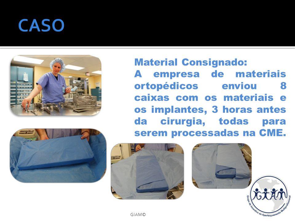 GIAM© Material Consignado: A empresa de materiais ortopédicos enviou 8 caixas com os materiais e os implantes, 3 horas antes da cirurgia, todas para s