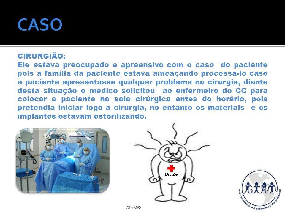 GIAM© CIRURGIÃO: Ele estava preocupado e apreensivo com o caso do paciente pois a família da paciente estava ameaçando processa-lo caso a paciente apr