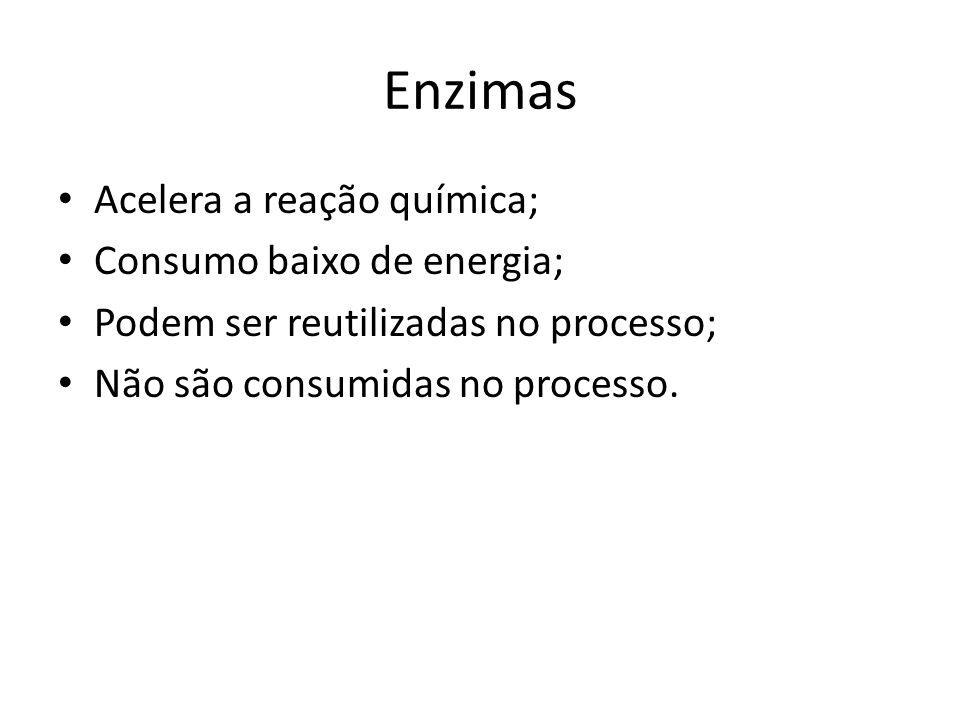 Enzimas Acelera a reação química; Consumo baixo de energia; Podem ser reutilizadas no processo; Não são consumidas no processo.