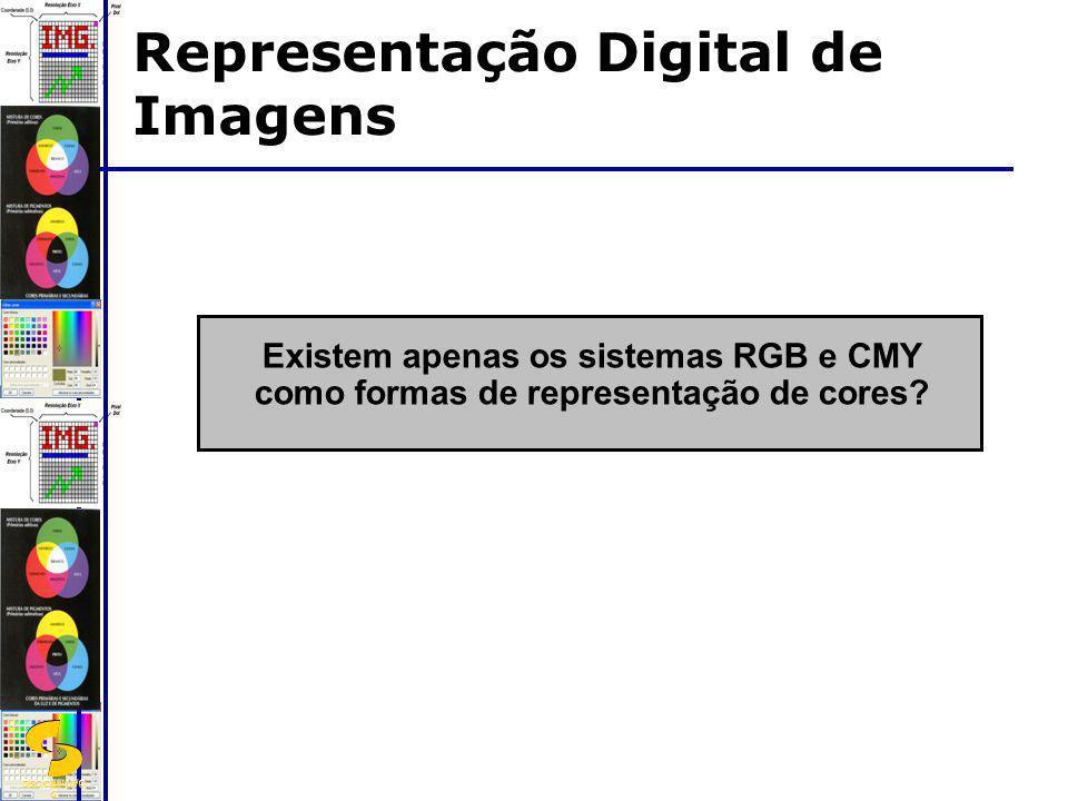 DSC/CEEI/UFC G Existem apenas os sistemas RGB e CMY como formas de representação de cores? Representação Digital de Imagens