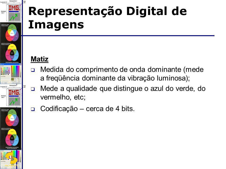 DSC/CEEI/UFC G Matiz Medida do comprimento de onda dominante (mede a freqüência dominante da vibração luminosa); Mede a qualidade que distingue o azul