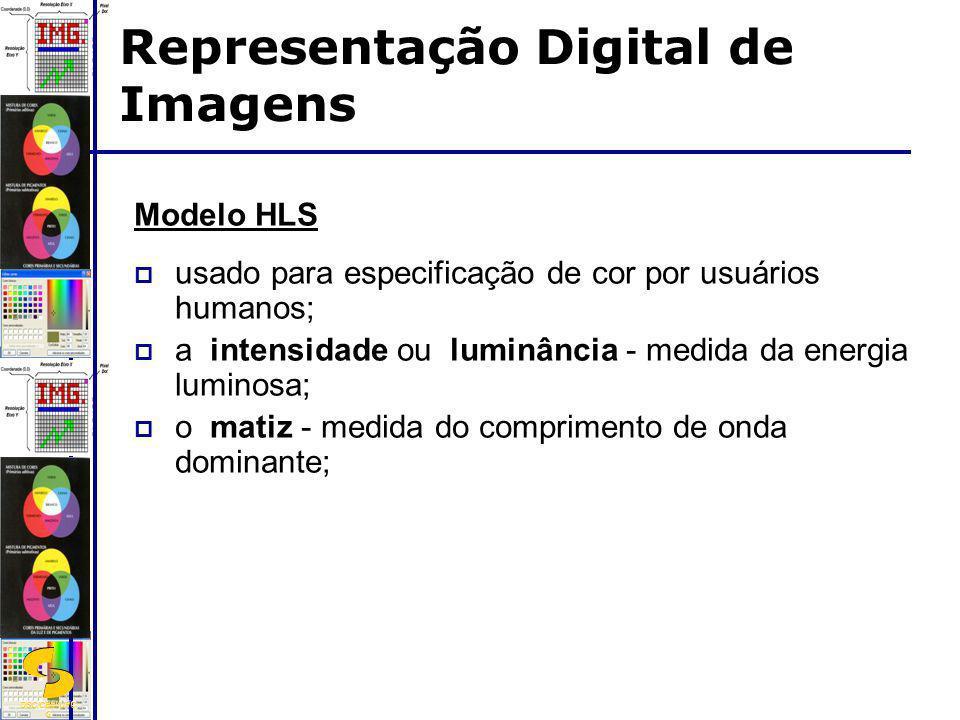 DSC/CEEI/UFC G Modelo HLS usado para especificação de cor por usuários humanos; a intensidade ou luminância - medida da energia luminosa; o matiz - me