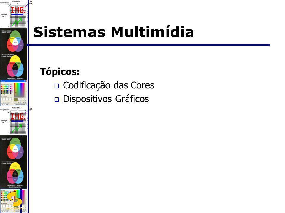 DSC/CEEI/UFC G Tópicos: Codificação das Cores Dispositivos Gráficos Sistemas Multimídia