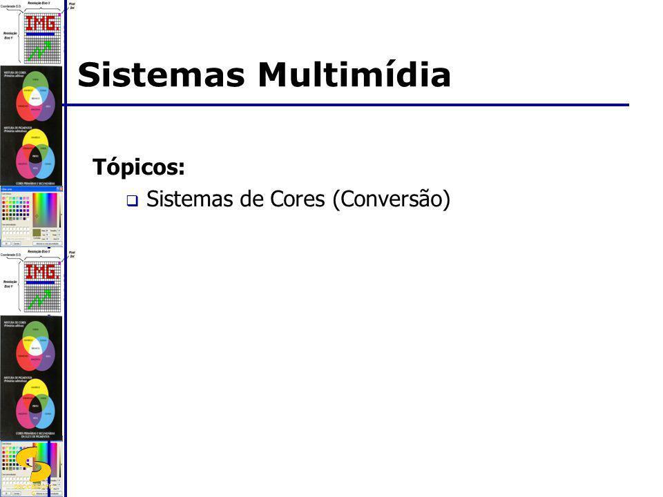 Tópicos: Sistemas de Cores (Conversão) Sistemas Multimídia