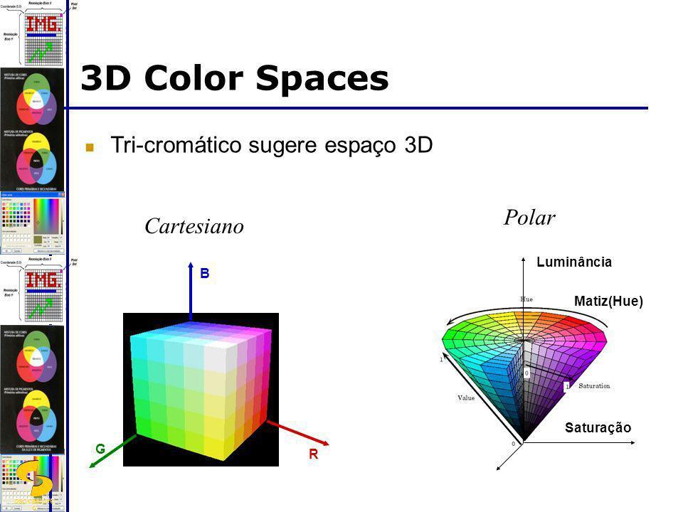 DSC/CEEI/UFC G 3D Color Spaces Tri-cromático sugere espaço 3D Polar Luminância Saturação Matiz(Hue) R B G Cartesiano
