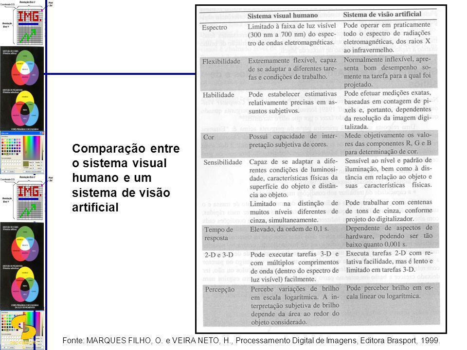 DSC/CEEI/UFC G Comparação entre o sistema visual humano e um sistema de visão artificial Fonte: MARQUES FILHO, O. e VEIRA NETO, H., Processamento Digi