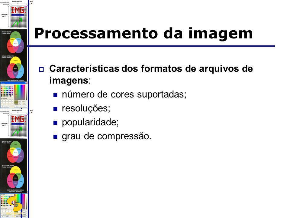 DSC/CEEI/UFC G Processamento da imagem Características dos formatos de arquivos de imagens: número de cores suportadas; resoluções; popularidade; grau