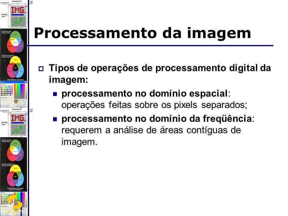 DSC/CEEI/UFC G Processamento da imagem Tipos de operações de processamento digital da imagem: processamento no domínio espacial: operações feitas sobr