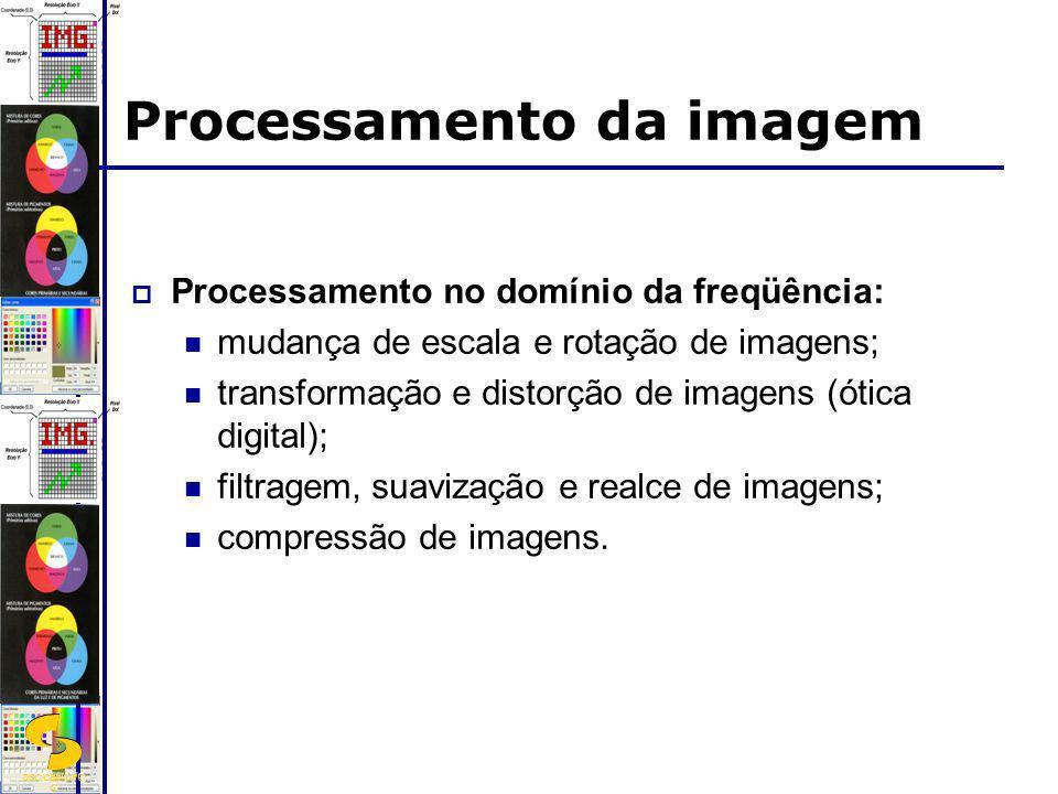 DSC/CEEI/UFC G Processamento da imagem Processamento no domínio da freqüência: mudança de escala e rotação de imagens; transformação e distorção de im