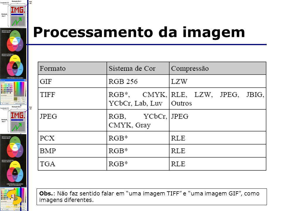 DSC/CEEI/UFC G Processamento da imagem Obs.: Não faz sentido falar em uma imagem TIFF e uma imagem GIF, como imagens diferentes.