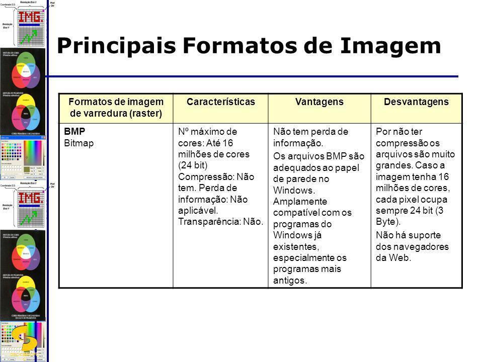 DSC/CEEI/UFC G Principais Formatos de Imagem Formatos de imagem de varredura (raster) CaracterísticasVantagensDesvantagens BMP Bitmap Nº máximo de cor