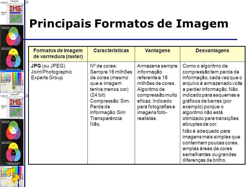 DSC/CEEI/UFC G Formatos de imagem de varrredura (raster) CaracterísticasVantagensDesvantagens JPG (ou JPEG) Joint Photographic Experts Group Nº de cor