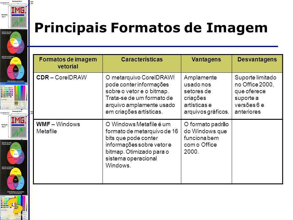DSC/CEEI/UFC G Formatos de imagem vetorial CaracterísticasVantagensDesvantagens CDR – CorelDRAWO metarquivo CorelDRAW! pode conter informações sobre o