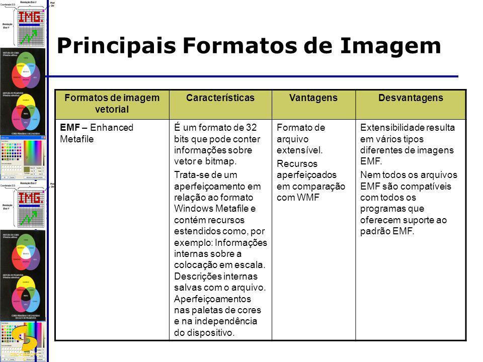 DSC/CEEI/UFC G Formatos de imagem vetorial CaracterísticasVantagensDesvantagens EMF – Enhanced Metafile É um formato de 32 bits que pode conter inform