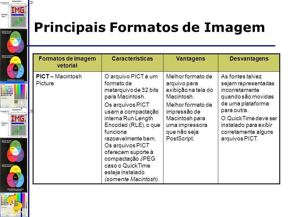 DSC/CEEI/UFC G Formatos de imagem vetorial CaracterísticasVantagensDesvantagens PICT – Macintosh Picture O arquivo PICT é um formato de metarquivo de