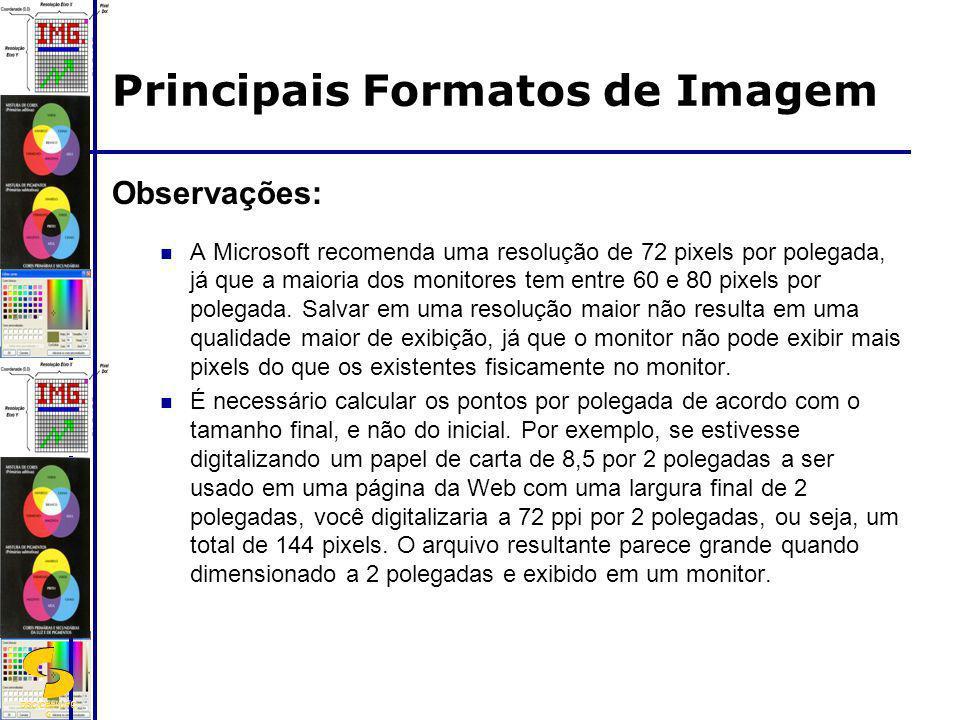 DSC/CEEI/UFC G Observações: A Microsoft recomenda uma resolução de 72 pixels por polegada, já que a maioria dos monitores tem entre 60 e 80 pixels por