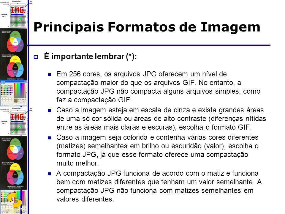 DSC/CEEI/UFC G É importante lembrar (*): Em 256 cores, os arquivos JPG oferecem um nível de compactação maior do que os arquivos GIF. No entanto, a co