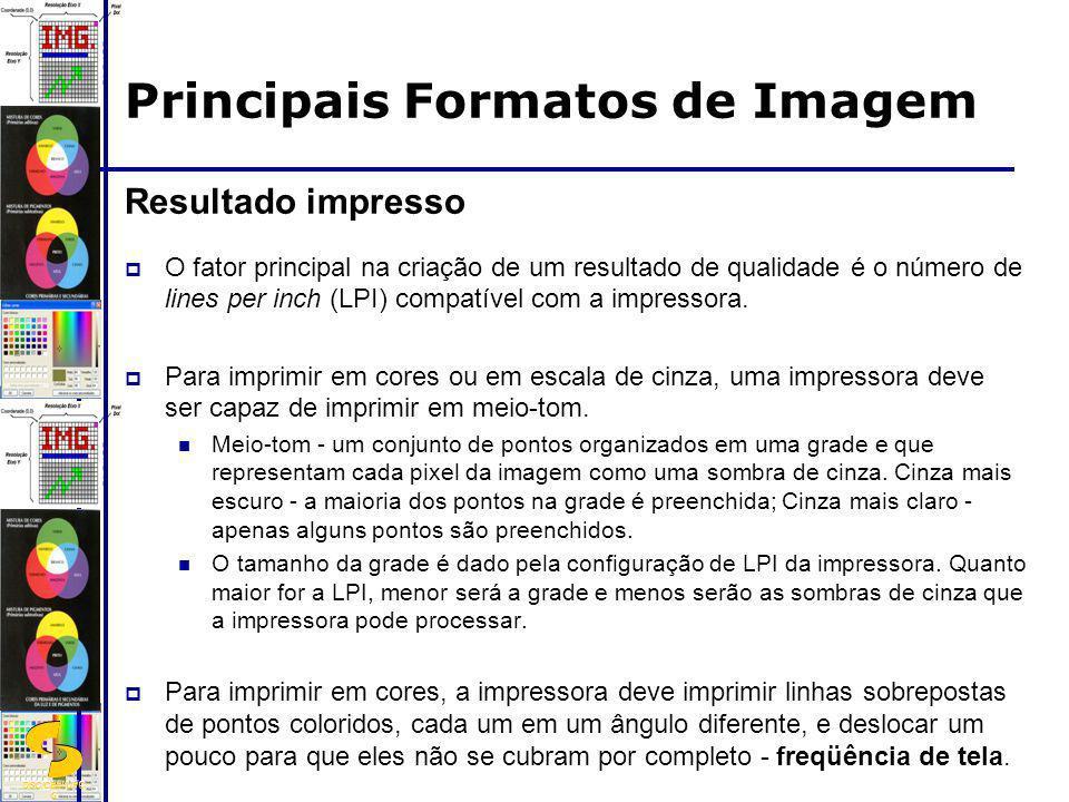 DSC/CEEI/UFC G Resultado impresso O fator principal na criação de um resultado de qualidade é o número de lines per inch (LPI) compatível com a impres