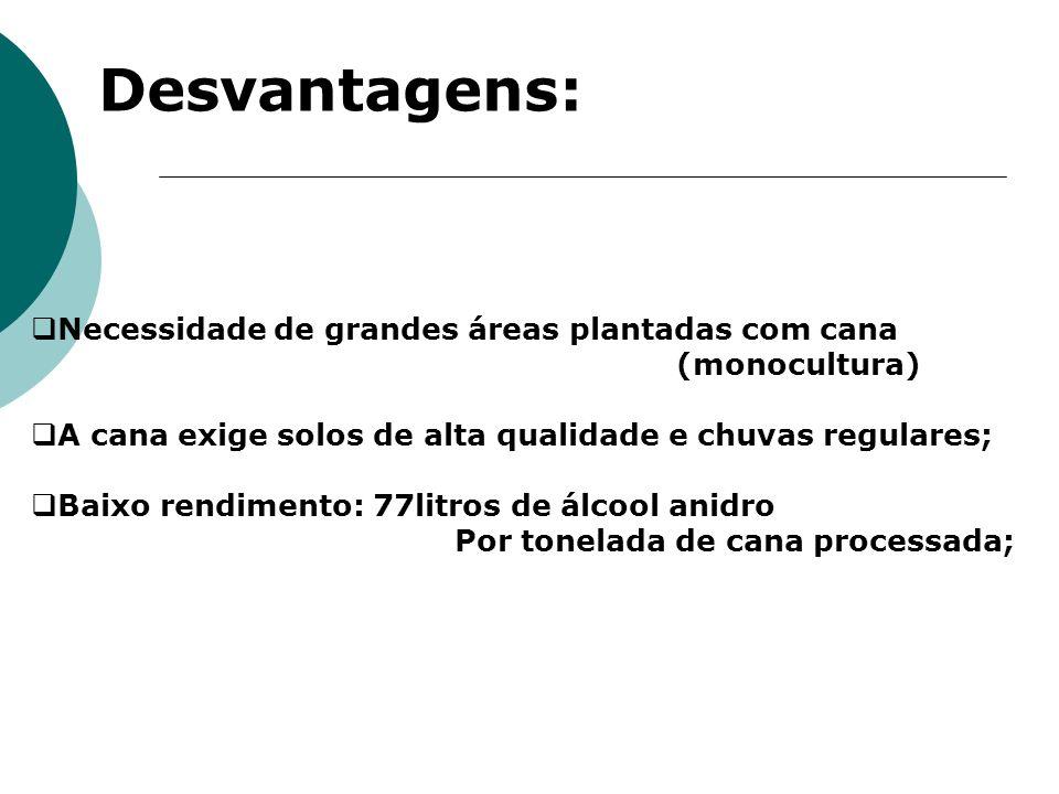 Desvantagens: Necessidade de grandes áreas plantadas com cana (monocultura) A cana exige solos de alta qualidade e chuvas regulares; Baixo rendimento:
