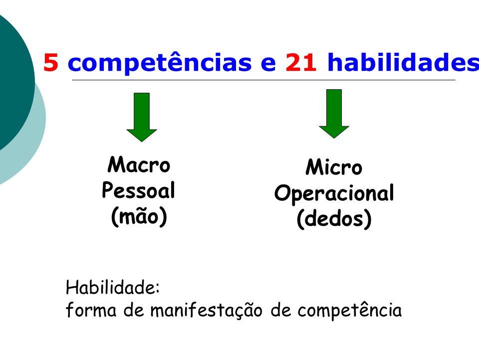 5 competências e 21 habilidades Macro Pessoal (mão) Micro Operacional (dedos) Habilidade: forma de manifestação de competência