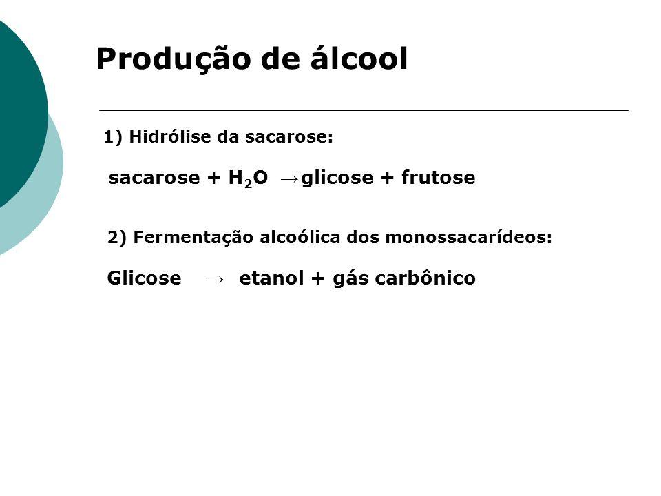 1) Hidrólise da sacarose: sacarose + H 2 O glicose + frutose Produção de álcool 2) Fermentação alcoólica dos monossacarídeos: Glicose etanol + gás car