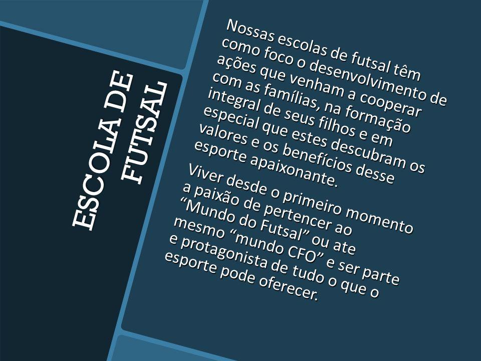 ESCOLA DE FUTSAL Os grupos formados pelo professor Egberto e demais companheiros são reconhecidos em BH pela raça e disciplina, características marcan