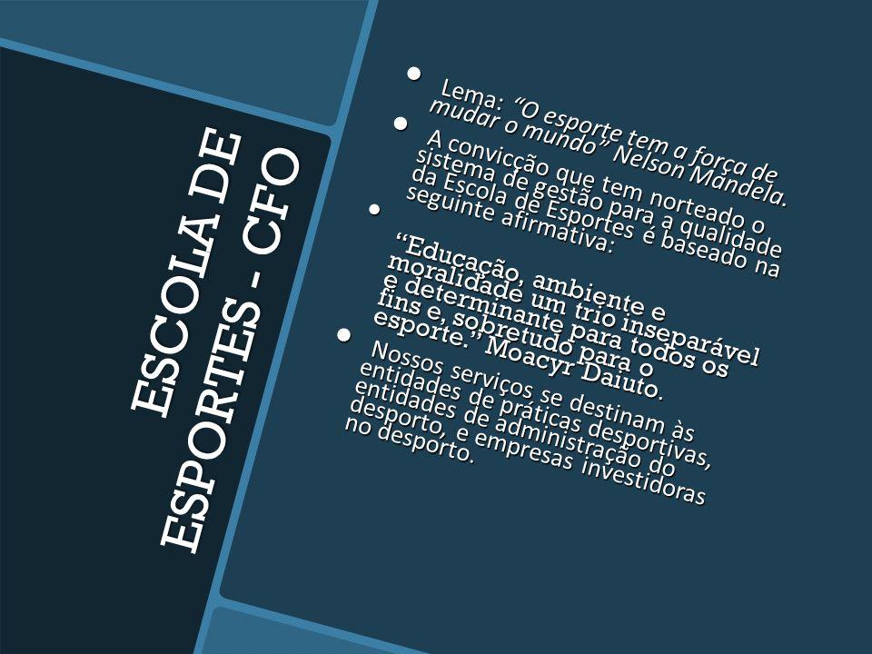 ESCOLA DE ESPORTES - CFO Especializada em administração e gestão esportiva. Especializada em administração e gestão esportiva. Atuando desde 2011, des
