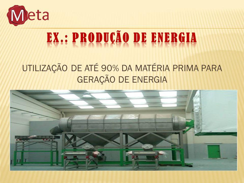 UTILIZAÇÃO DE ATÉ 90% DA MATÉRIA PRIMA PARA GERAÇÃO DE ENERGIA