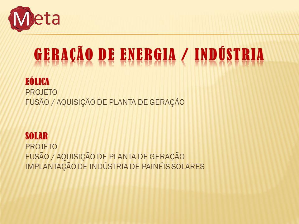 EÓLICA PROJETO FUSÃO / AQUISIÇÃO DE PLANTA DE GERAÇÃO SOLAR PROJETO FUSÃO / AQUISIÇÃO DE PLANTA DE GERAÇÃO IMPLANTAÇÃO DE INDÚSTRIA DE PAINÉIS SOLARES