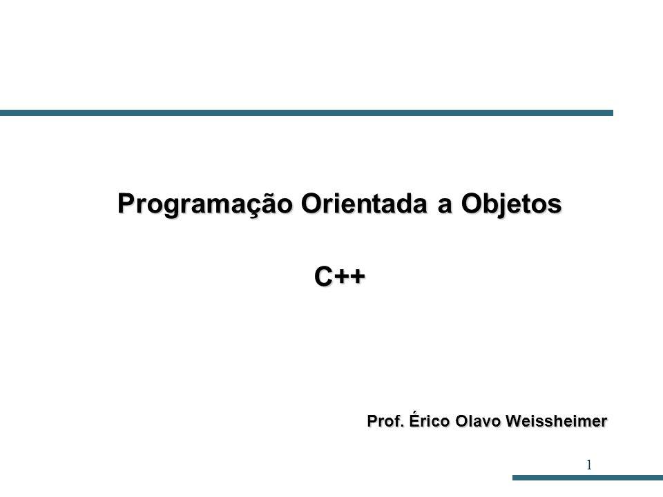 1 Programação Orientada a Objetos C++ Prof. Érico Olavo Weissheimer