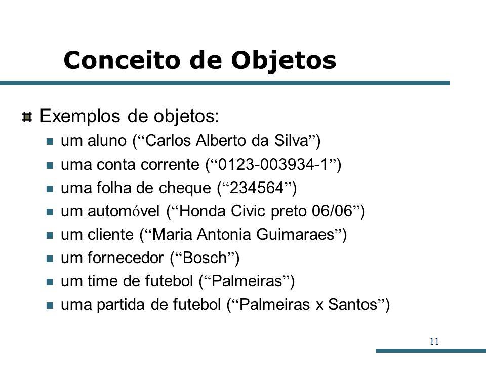 11 Conceito de Objetos Exemplos de objetos: um aluno ( Carlos Alberto da Silva ) uma conta corrente ( 0123-003934-1 ) uma folha de cheque ( 234564 ) u