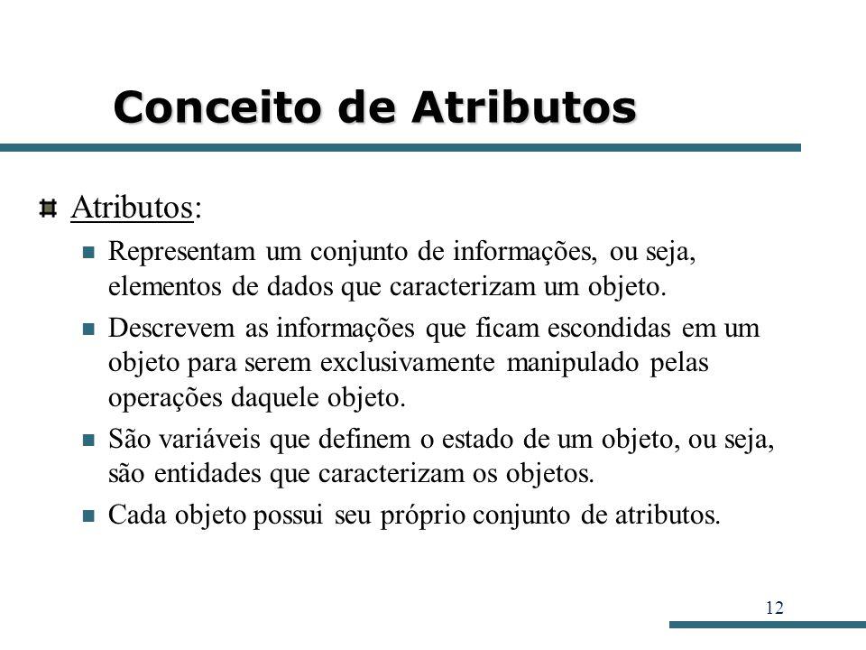 12 Conceito de Atributos Atributos: Representam um conjunto de informações, ou seja, elementos de dados que caracterizam um objeto. Descrevem as infor