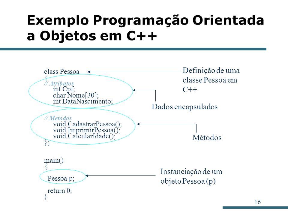 16 Exemplo Programação Orientada a Objetos em C++ class Pessoa { // Atributos int Cpf; char Nome[30]; int DataNascimento; // Metodos void CadastrarPes