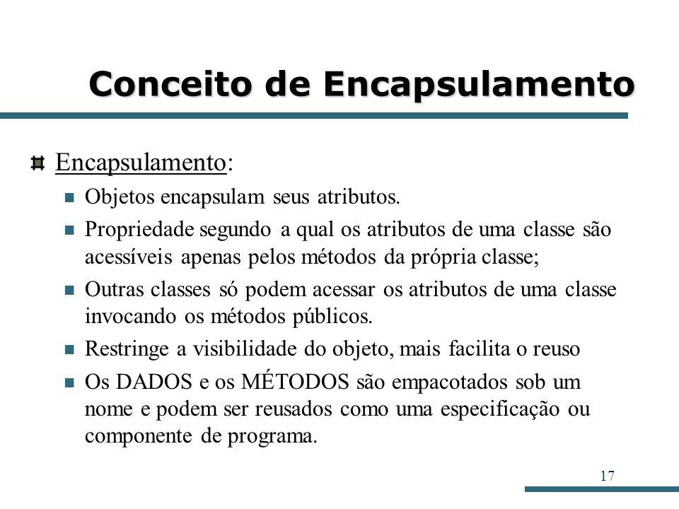 17 Conceito de Encapsulamento Encapsulamento: Objetos encapsulam seus atributos. Propriedade segundo a qual os atributos de uma classe são acessíveis