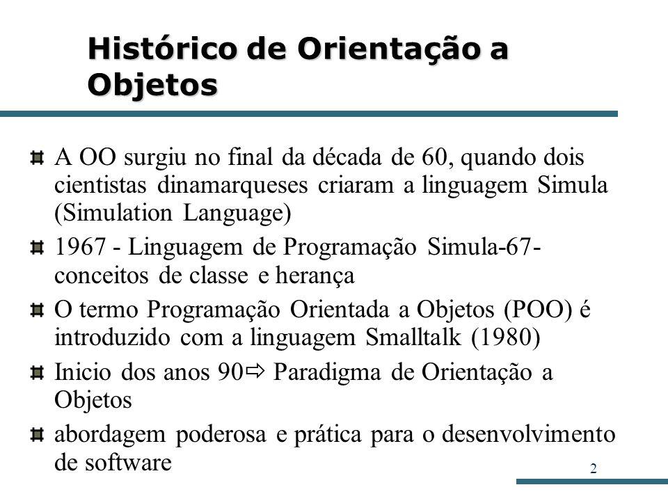 2 Histórico de Orientação a Objetos A OO surgiu no final da década de 60, quando dois cientistas dinamarqueses criaram a linguagem Simula (Simulation