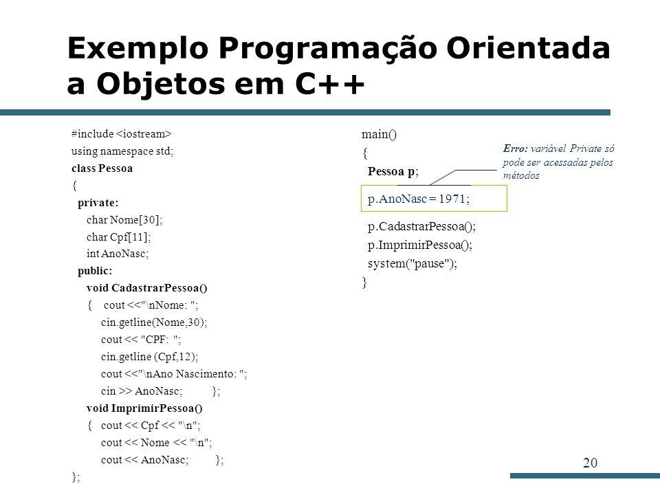 20 Exemplo Programação Orientada a Objetos em C++ #include using namespace std; class Pessoa { private: char Nome[30]; char Cpf[11]; int AnoNasc; publ