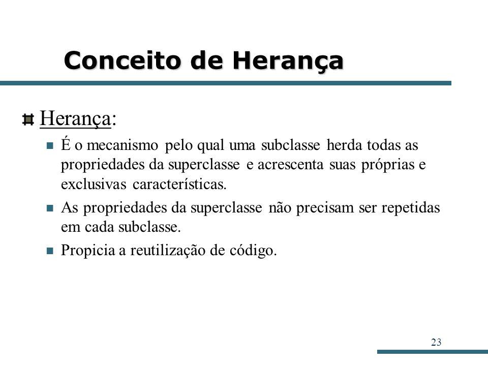 23 Conceito de Herança Herança: É o mecanismo pelo qual uma subclasse herda todas as propriedades da superclasse e acrescenta suas próprias e exclusiv
