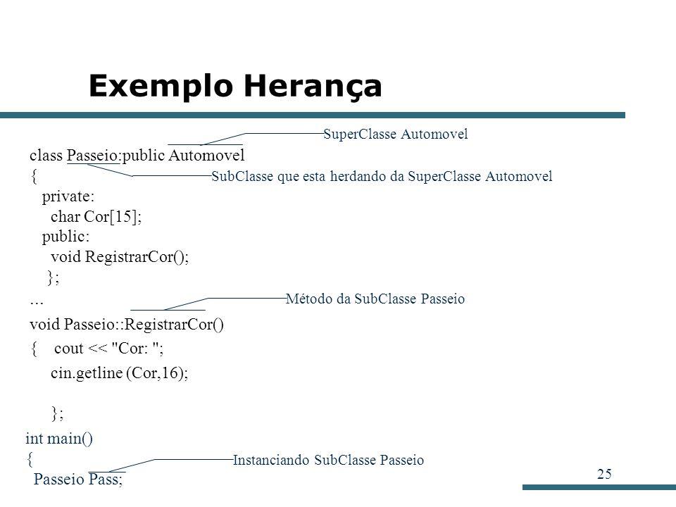 25 Exemplo Herança class Passeio:public Automovel { private: char Cor[15]; public: void RegistrarCor(); };... void Passeio::RegistrarCor() { cout <<