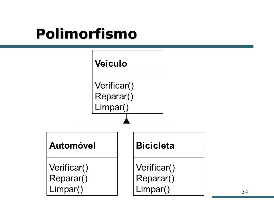 34 Polimorfismo Veículo Verificar() Reparar() Limpar() Automóvel Verificar() Reparar() Limpar() Bicicleta Verificar() Reparar() Limpar()