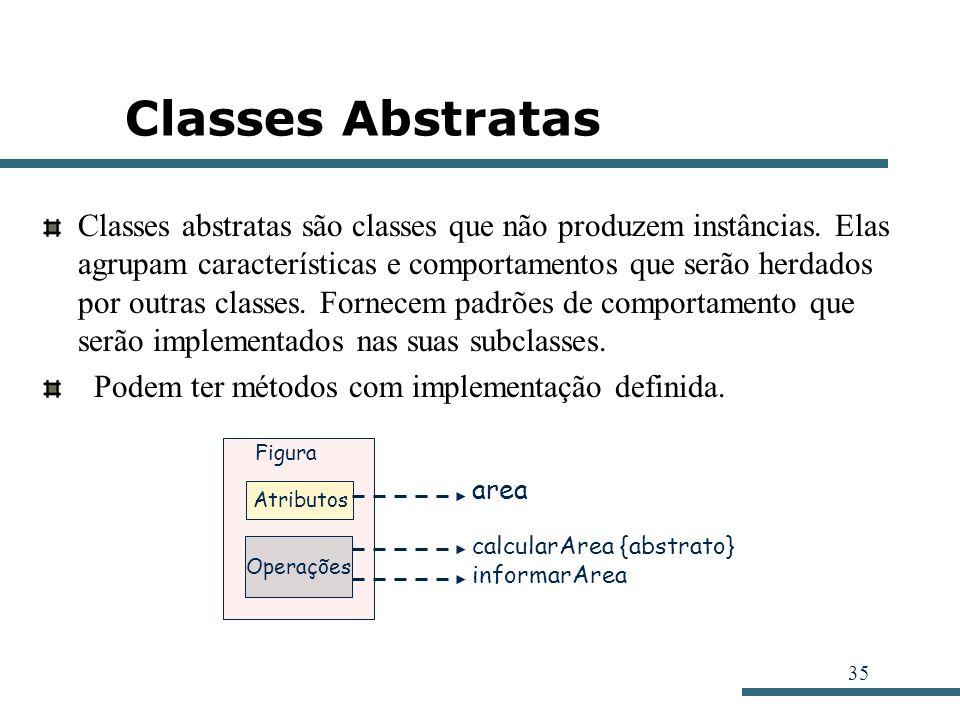 35 Classes Abstratas Classes abstratas são classes que não produzem instâncias. Elas agrupam características e comportamentos que serão herdados por o