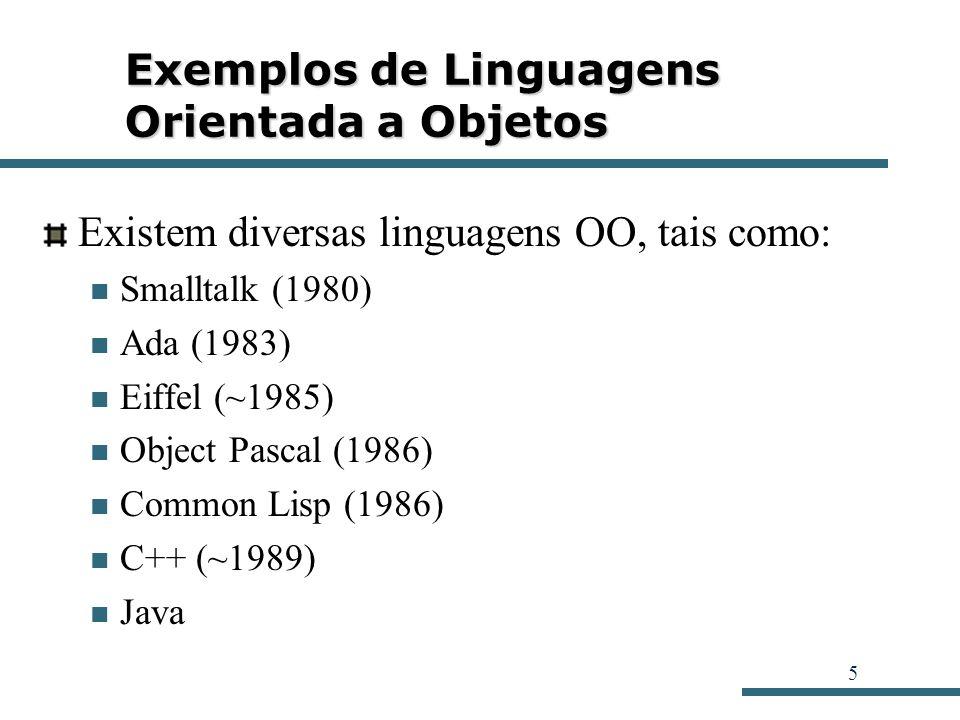 5 Exemplos de Linguagens Orientada a Objetos Existem diversas linguagens OO, tais como: Smalltalk (1980) Ada (1983) Eiffel (~1985) Object Pascal (1986