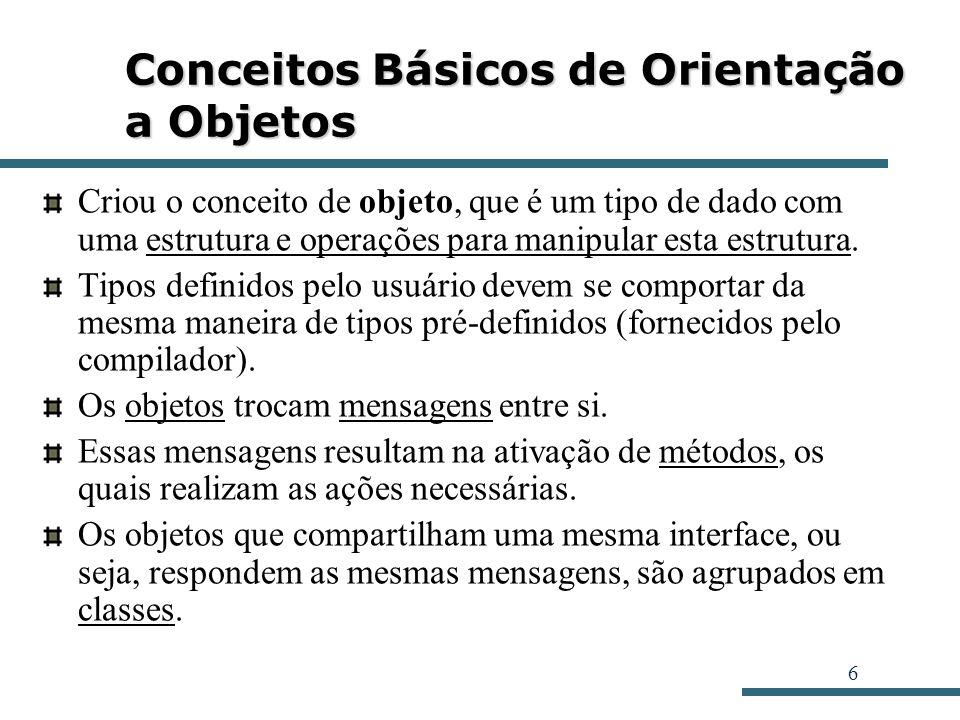 6 Conceitos Básicos de Orientação a Objetos Criou o conceito de objeto, que é um tipo de dado com uma estrutura e operações para manipular esta estrut