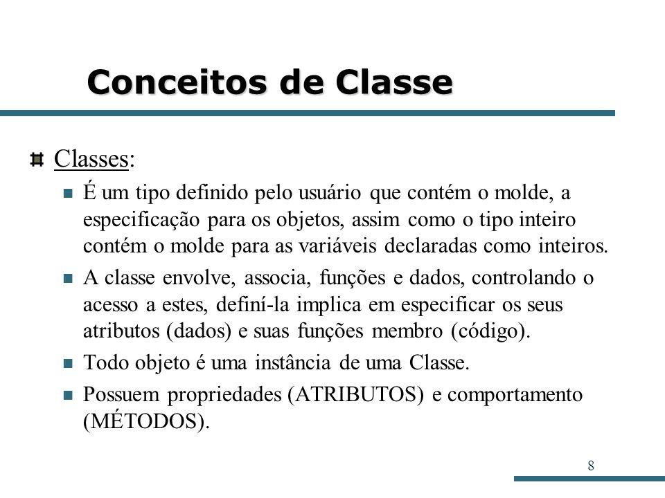 8 Conceitos de Classe Classes: É um tipo definido pelo usuário que contém o molde, a especificação para os objetos, assim como o tipo inteiro contém o